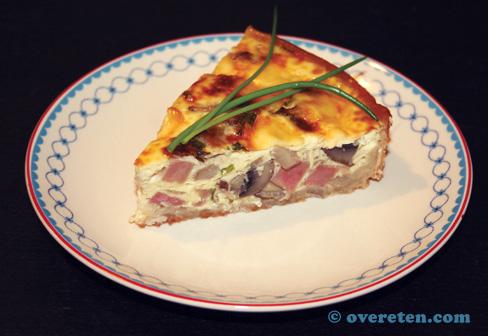 Quiche met kastanjechampignons en ham (1)