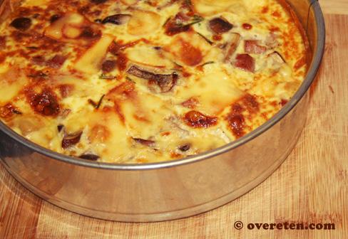Quiche met kastanjechampignons en ham (2)
